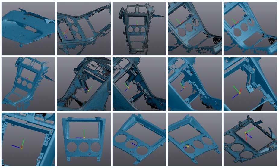 Grid of 15 models captured by the scanner
